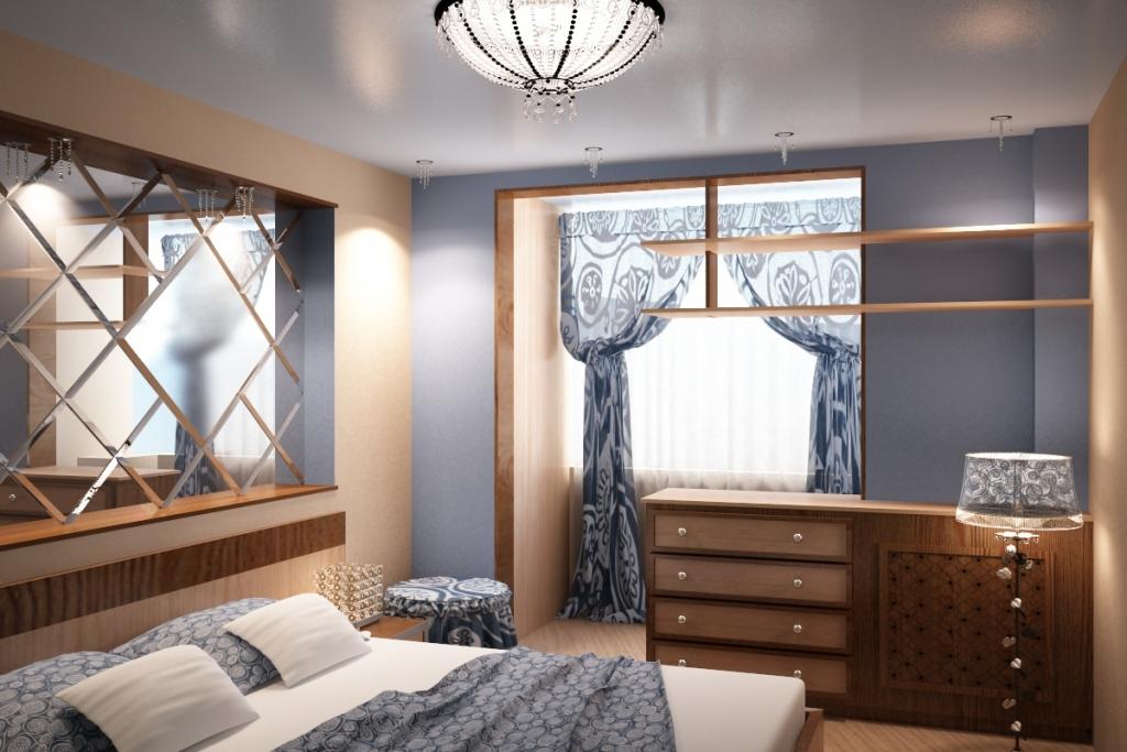 Дизайн спальни совмещенный с балконом